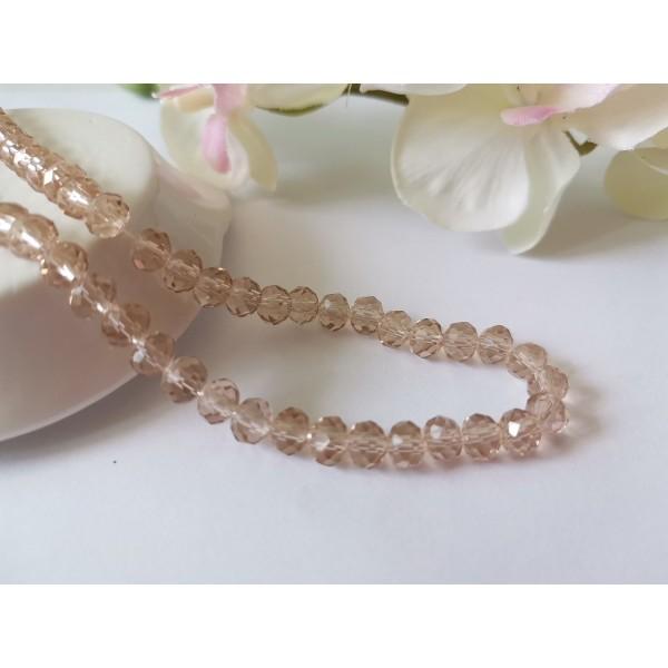 Perles en verre à facette 6 x 4 mm marron clair x 22 - Photo n°1