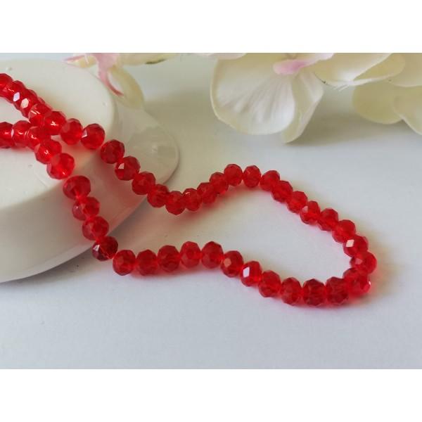 Perles en verre à facette 6 x 4 mm rouge x 23 - Photo n°1