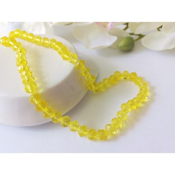 Perles en verre à facette 6 x 4 mm jaune x 22 - Photo n°1