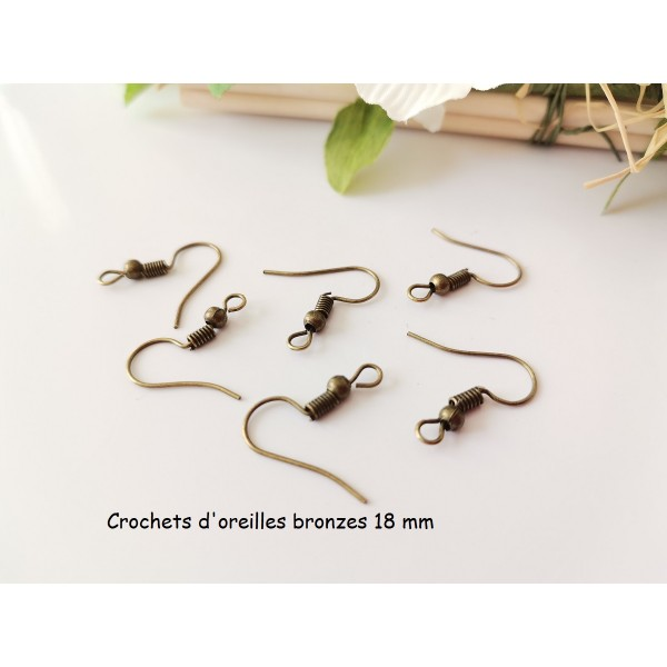 Crochets d'oreilles bronze 18 mm x 50 - Photo n°1