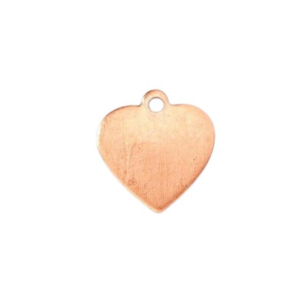 Lot de 10 pendentifs en cuivre, petit Coeur, 1 trou, 1,6 x 1,5 cm, ébauche pour émaillage - Photo n°1