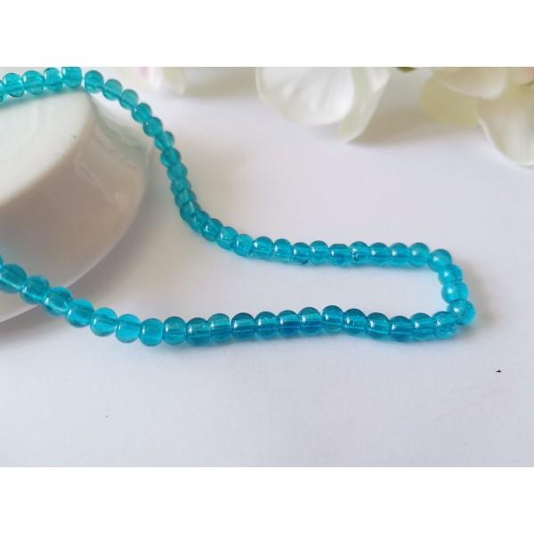 Perles en verre craquelé 4 mm bleu x 53 - Photo n°1