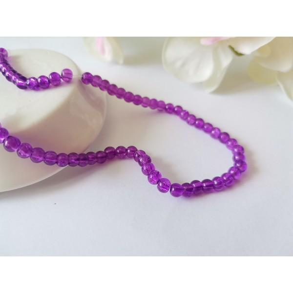 Perles en verre craquelé 4 mm violet x 50 - Photo n°1