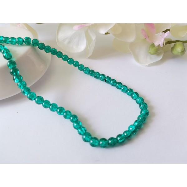 Perles en verre craquelé 4 mm vert x 47 - Photo n°1