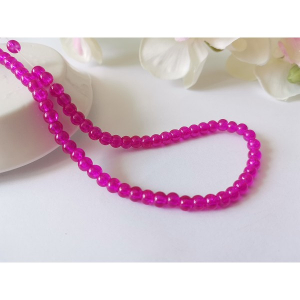 Perles en verre craquelé 4 mm rose fuchsia x 55 - Photo n°1