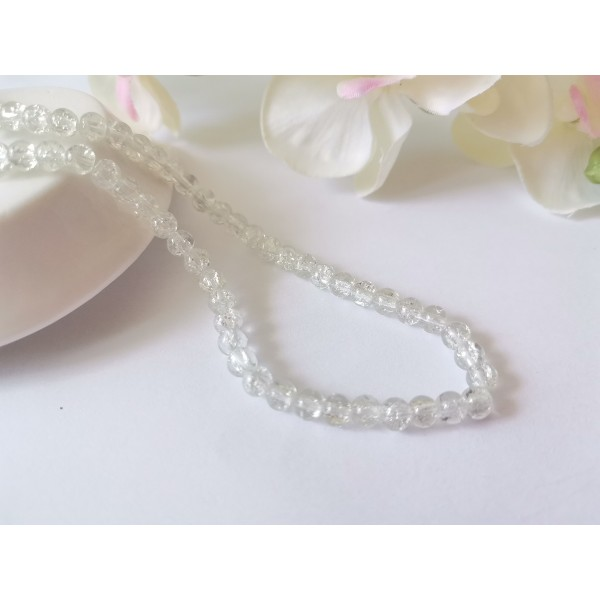 Perles en verre craquelé 4 mm cristal x 50 - Photo n°1