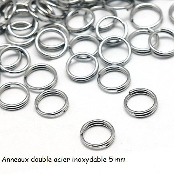 Anneaux doubles 5 mm acier inoxydable x 20 - Photo n°1