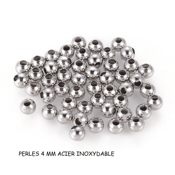 Perles intercalaire acier inoxydable 4 mm x 10 - Photo n°1