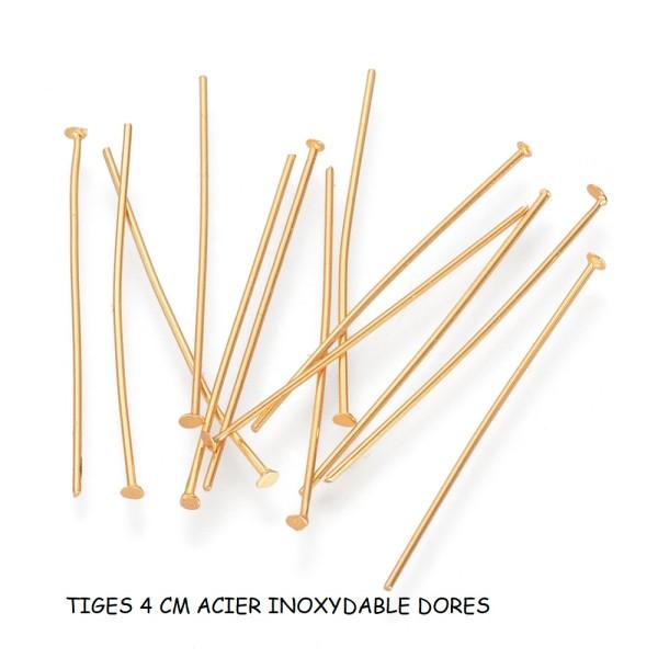 Clous tiges doré acier inoxydable 4 cm à tête plate x 10 - Photo n°1