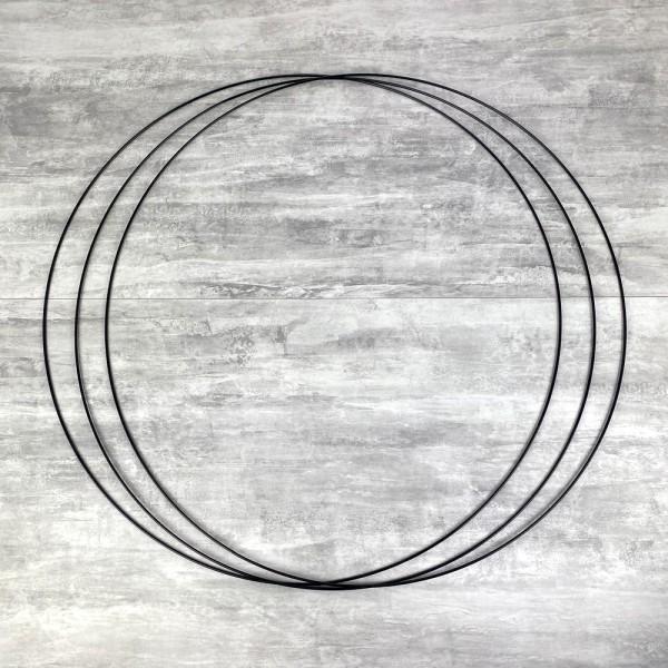 Gros lot de 3 Grands Cercles métalliques noir, diam. 80 cm pour abat-jour, Anneaux epoxy Attrape rêv - Photo n°1