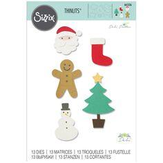 Matrice Sizzix Thinlits - Motifs de Noël Basiques - 13 pcs