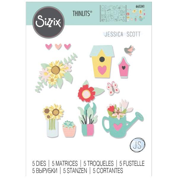 Matrice Sizzix Thinlits - Jardin fleuri - 5 pcs - Photo n°1