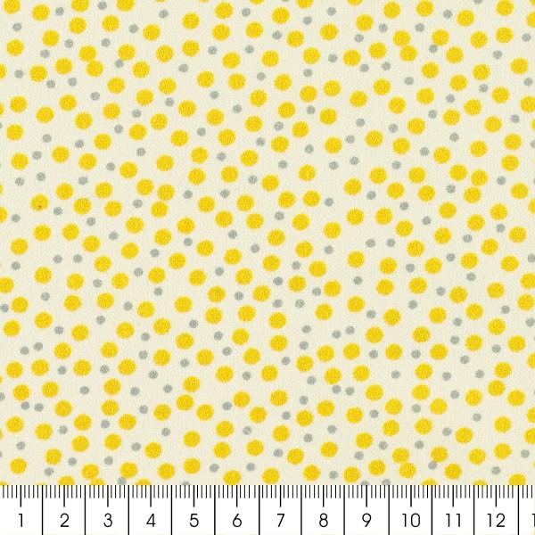 Tissu Popeline de coton - Pois jaunes - Vendu par 10 cm - Photo n°3