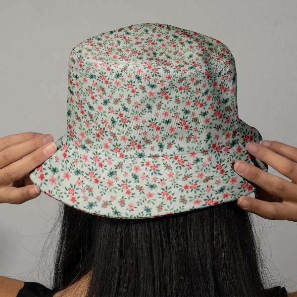 Tissu Popeline de coton - Fleuris rouge - Vendu par 10 cm - Photo n°2