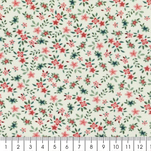 Tissu Popeline de coton - Fleuris rouge - Vendu par 10 cm - Photo n°3