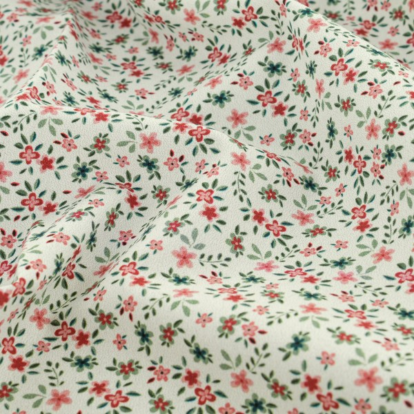 Tissu Popeline de coton - Fleuris rouge - Vendu par 10 cm - Photo n°4