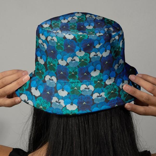 Tissu Popeline de coton - Pensées bleues - Vendu par 10 cm - Photo n°2