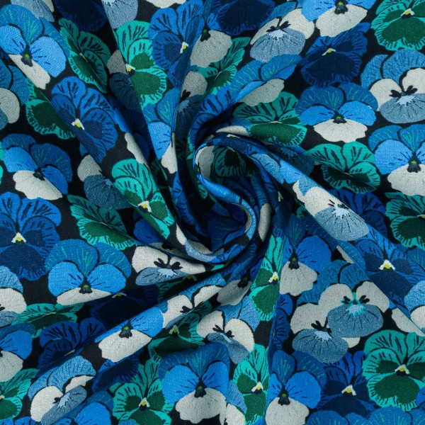 Tissu Popeline de coton - Pensées bleues - Vendu par 10 cm - Photo n°3