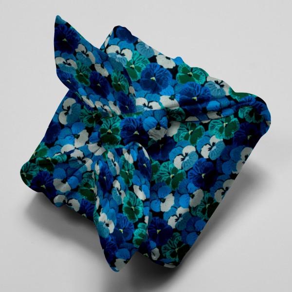 Tissu Popeline de coton - Pensées bleues - Vendu par 10 cm - Photo n°4