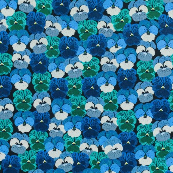 Tissu Popeline de coton - Pensées bleues - Vendu par 10 cm - Photo n°1