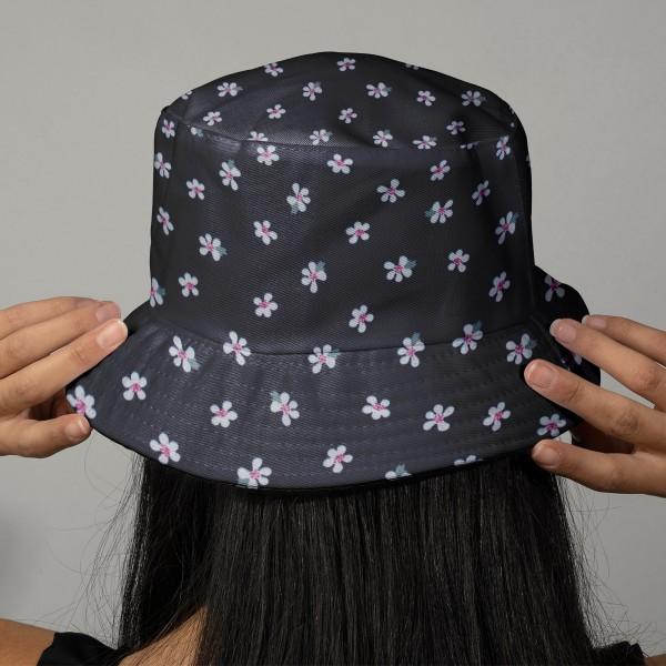 Tissu Popeline de coton - Fleurs blanches - Vendu par 10 cm - Photo n°2