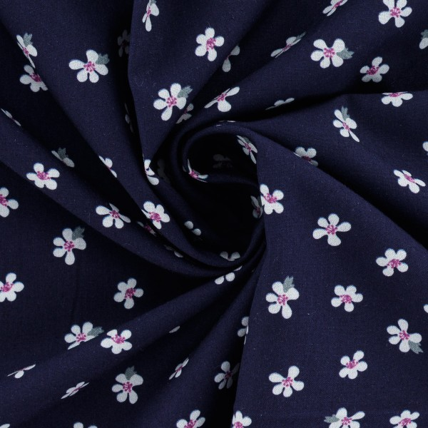 Tissu Popeline de coton - Fleurs blanches - Vendu par 10 cm - Photo n°3