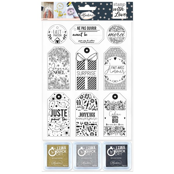 Kit Tampon de Noël - Étiquettes cadeaux - 12 pcs - Photo n°1