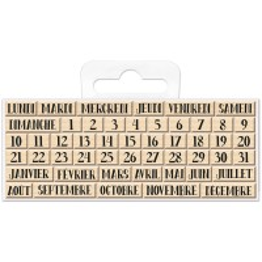 Mini Tampons bois - Calendrier - 0,6 à 1,7 cm - 49 pcs