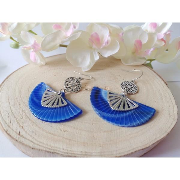 Kit boucles d'oreilles pendentif éventail bleu dur et crochets acier inoxydable - Photo n°2