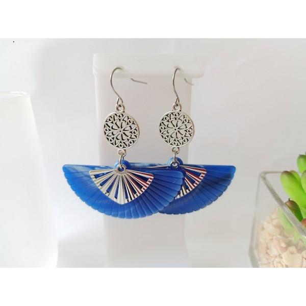 Kit boucles d'oreilles pendentif éventail bleu dur et crochets acier inoxydable - Photo n°1