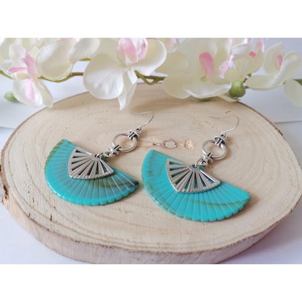 Kit boucles d'oreilles pendentif éventail turquoise et crochets acier inoxydable - Photo n°2