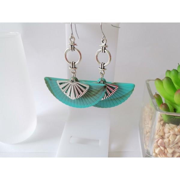 Kit boucles d'oreilles pendentif éventail turquoise et crochets acier inoxydable - Photo n°1