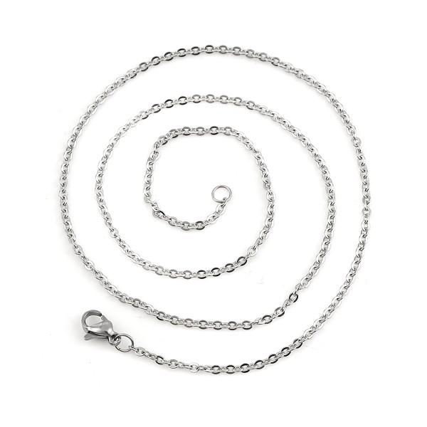 Colliers acier inoxydable chaîne maille argent mat 49 cm - Photo n°2