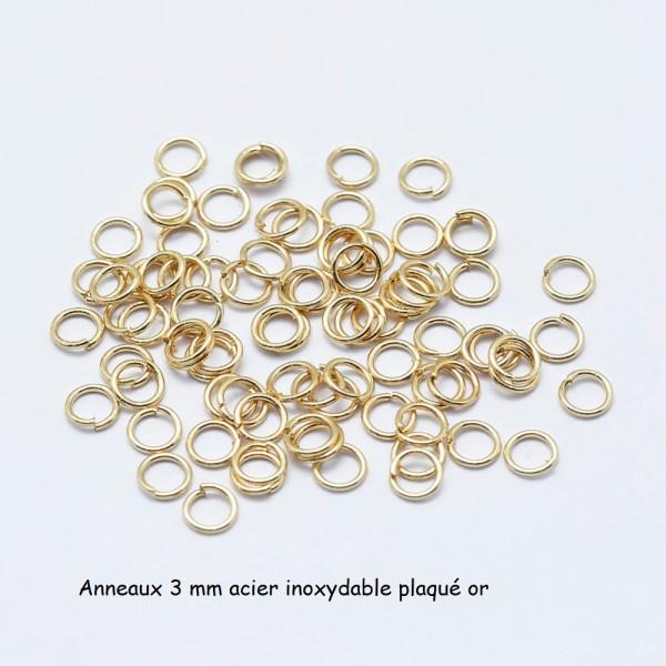 Anneaux acier inoxydable 3 mm plaqué or x 20 - Photo n°1