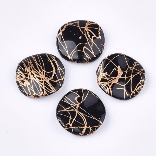 Perles acrylique carré plat ondulé noire tréfilé doré 20 mm x 4 - Photo n°1