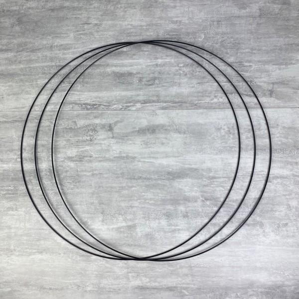 Gros lot de 3 Grands Cercles métalliques noir, diam. 70 cm pour abat-jour, Anneaux epoxy Attrape rêv - Photo n°1