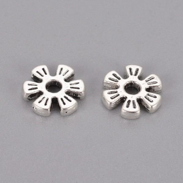 Perles métal fleur intercalaires 8 mm argent mat x 10 - Photo n°2