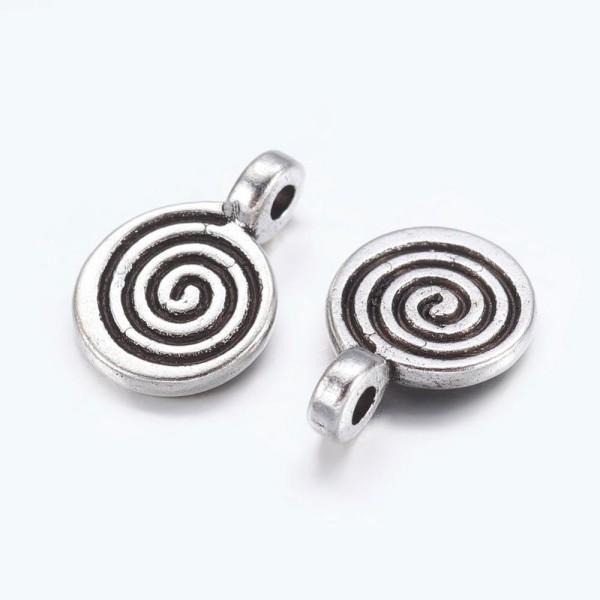 Breloques métal spirale 8 mm argent mat x 5 - Photo n°2