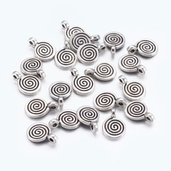 Breloques métal spirale 8 mm argent mat x 5 - Photo n°1