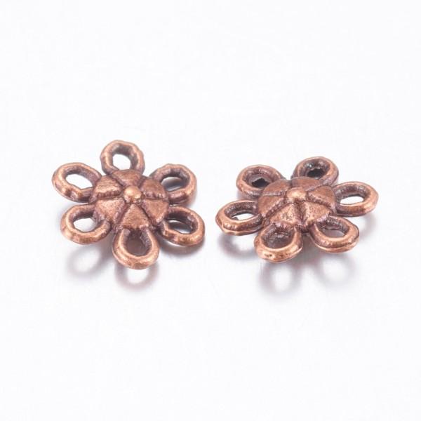 Liens connecteur métal fleur 9 mm cuivre rouge x 10 - Photo n°2