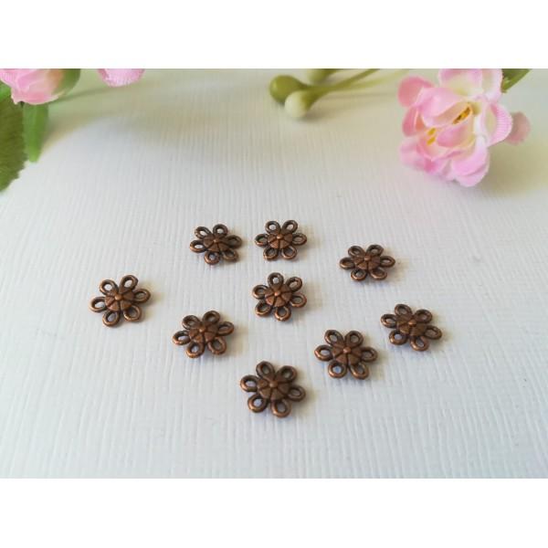 Liens connecteur métal fleur 9 mm cuivre rouge x 10 - Photo n°3