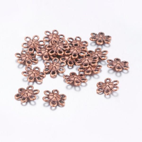Liens connecteur métal fleur 9 mm cuivre rouge x 10 - Photo n°1