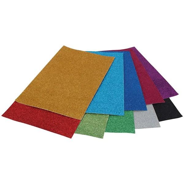 Papier cartonné et pailleté A4 - Multicolore - 50 feuilles - Photo n°1