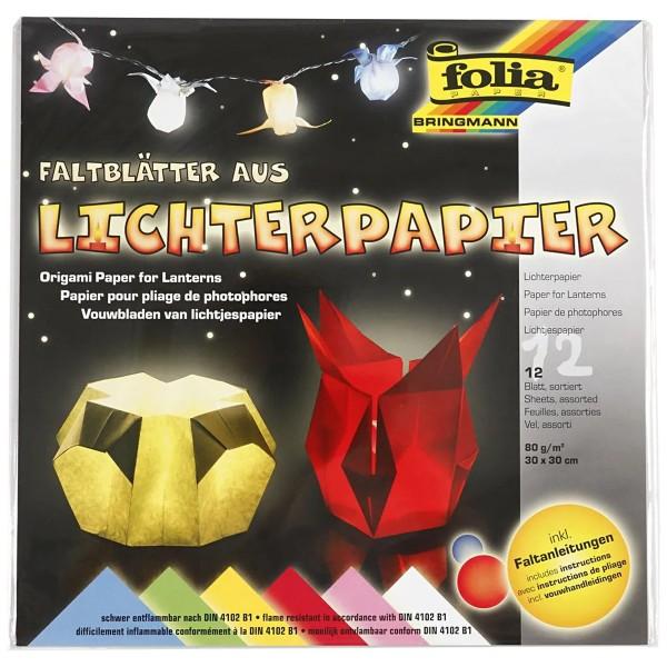 Papier Origami pour lanterne - 30 x 30 cm - 12 feuilles - Photo n°2