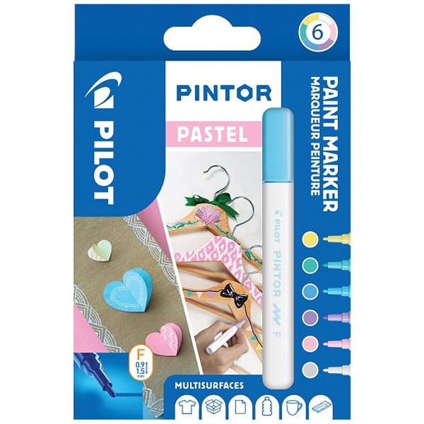 Assortiment de feutres Pintor - Pointe fine - Couleurs Pastel - 6 pcs - Photo n°1
