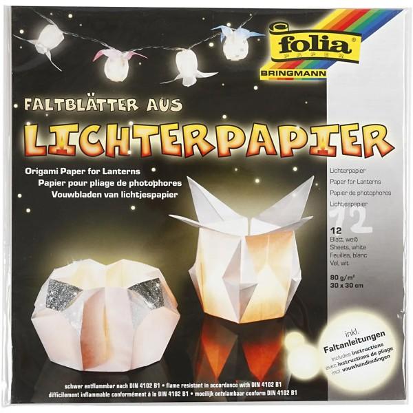 Papier Origami pour lanterne - Blanc -30 x 30 cm - 12 feuilles - Photo n°1