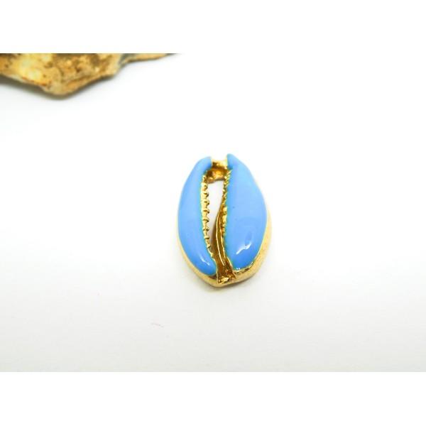 1 Breloque cauri, coquillage plaqué or 18K et émaillé bleu ~ 20*12mm - Photo n°2