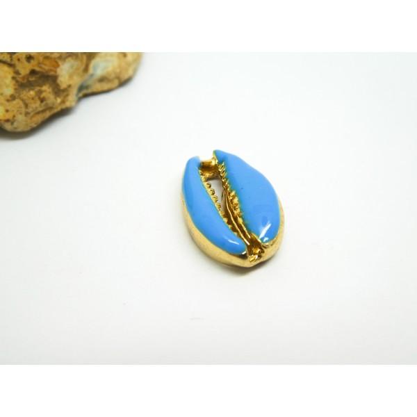 1 Breloque cauri, coquillage plaqué or 18K et émaillé bleu ~ 20*12mm - Photo n°1