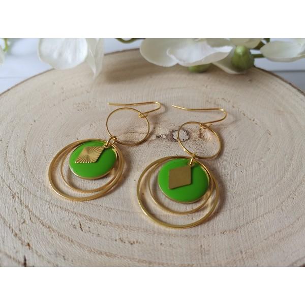 Kit boucles d'oreilles double anneaux dorés et sequin émail vert - Photo n°2