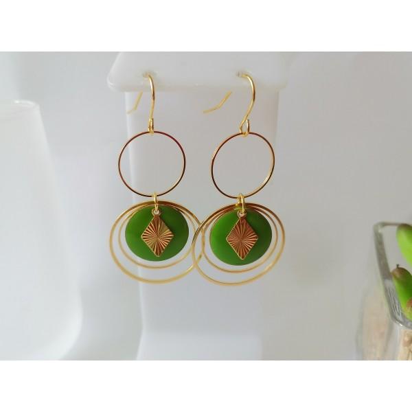 Kit boucles d'oreilles double anneaux dorés et sequin émail vert - Photo n°1